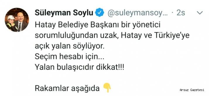 İçişleri Bakanı Süleyman Soylu, Lütfü Savaşa Yalancı Dedi